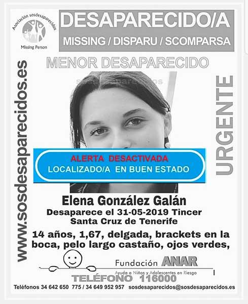 La menor Elena González localizada buen estado en Tincer, Tenerife