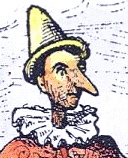 Vintage drawing of Pinocchio with a big nose.