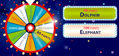 Look at the clues on the cards to get the points shown on the wheel! What types of animals are these? (image)