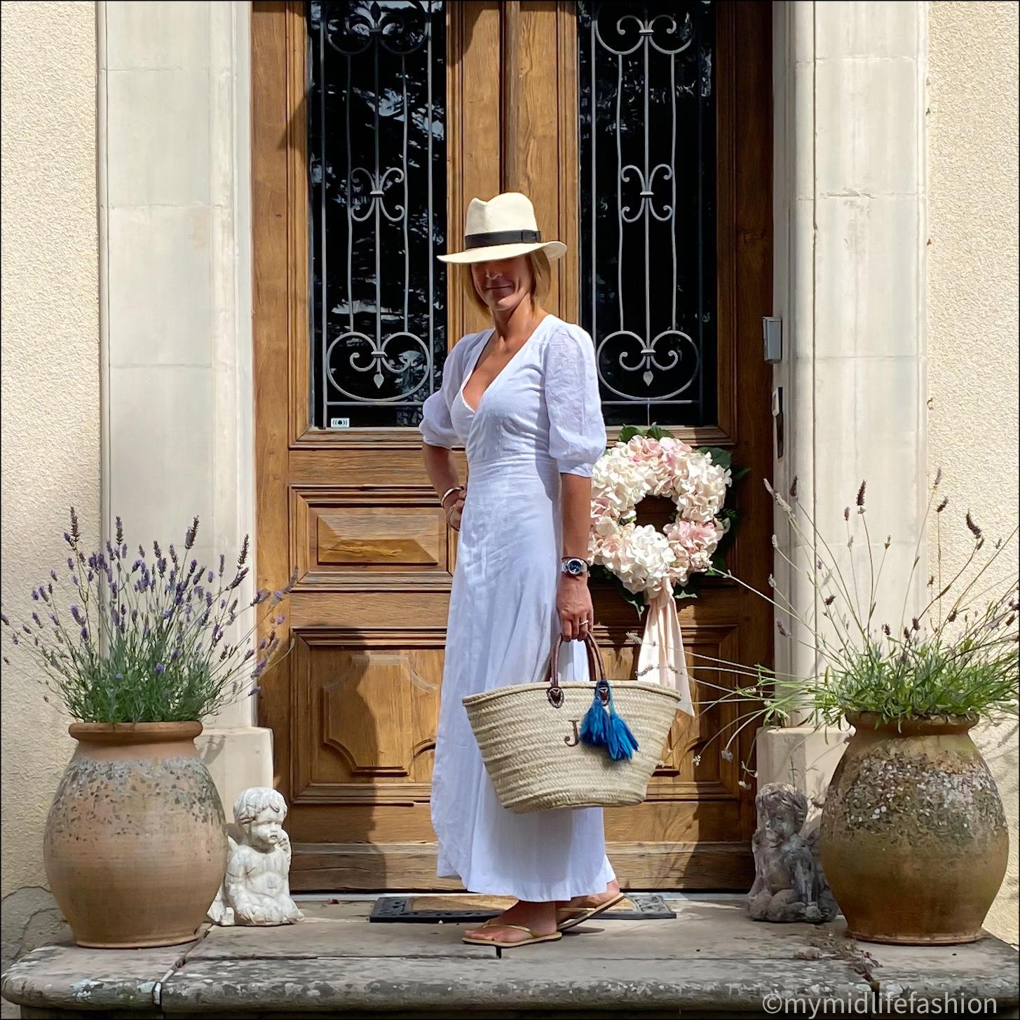 my midlife fashion, zara Panama hat, seraphina London wrap maxi dress, initially London covent short handled basket, havaiana gold metallic flip flops