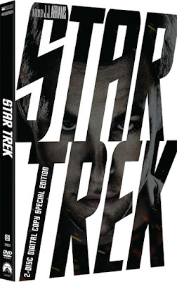 DVD packaging of 2009 'Star Trek' with the face of Chris Pine as Kirk seen through the dark letters of the title on a white background