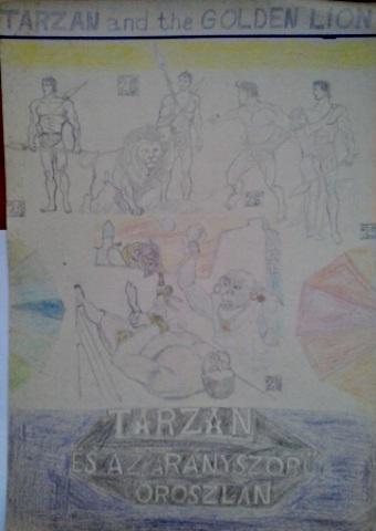 Tarzan és az aranyszőrű oroszlán saját rajz könyvből lerajzolva