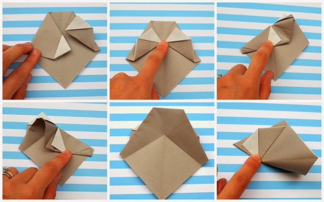 how to fold origami faces with kids- steps 13-18