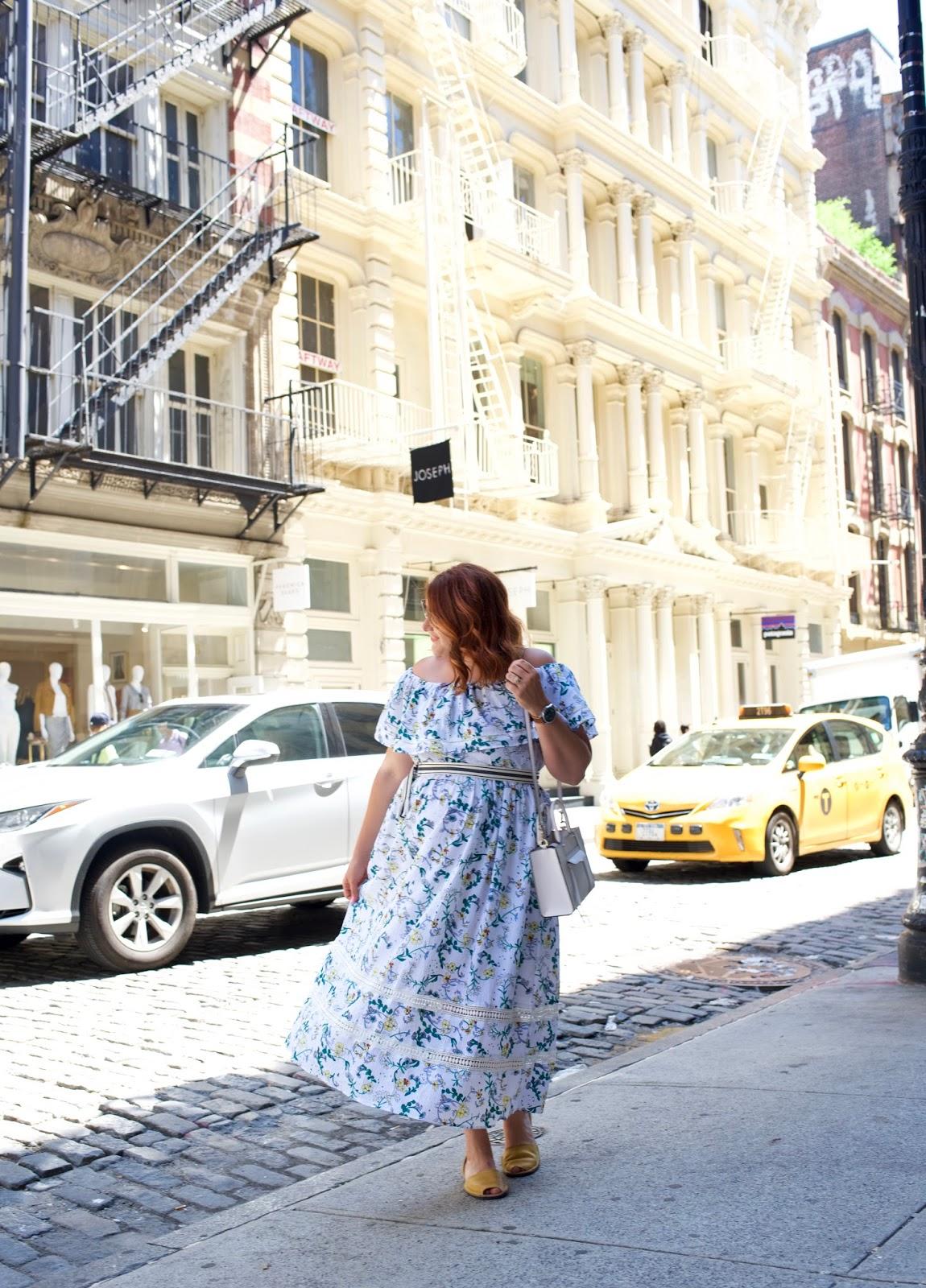 Asos midi dress, summer outfit, twos company hat, pons sandals, mini Mab rebecca minkoff, soho streets