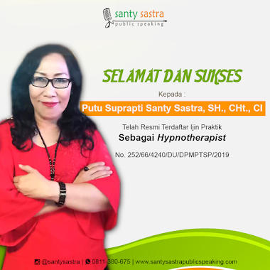Santy Sastra, Resmi Terdaftar Ijin Praktik Hypnotherapist