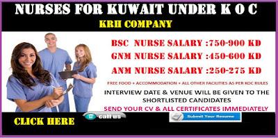 Nurses for kuwait under K O C. KRH