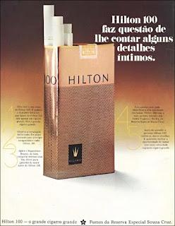 propaganda cigarros Hilton 100 - 1973, souza cruz anos 70, cigarros década de 70, Oswaldo Hernandez,