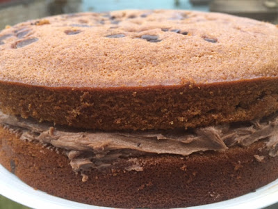 Chocolate Chip Ginger Cake with buttercream filling