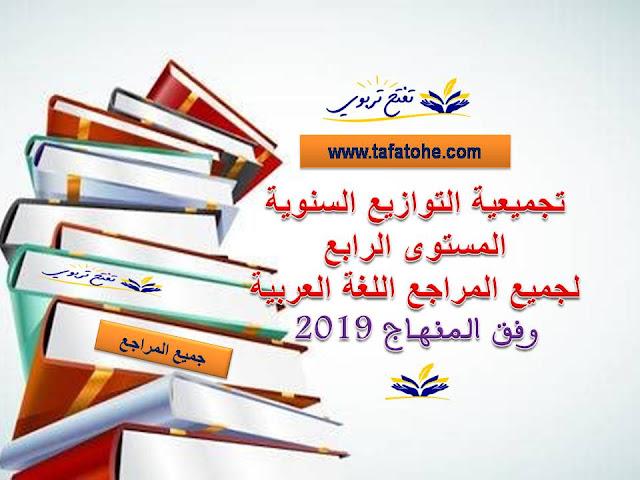تجميعية التوازيع السنوية المستوى الرابع لجميع المراجع اللغة العربية وفق المنهاج المنقح 2019