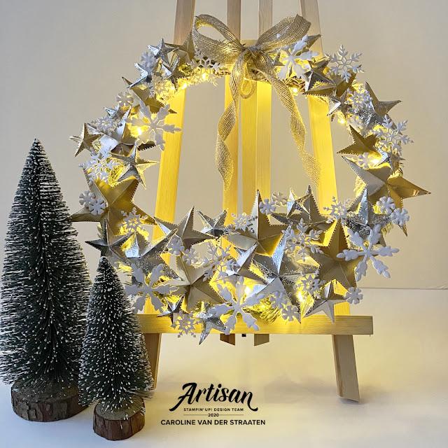 Stampin' Up! - Sneeuwsterren krans  - So many snowflakes wreath - Caro's Kaartjes - Artisan Design Team 2020