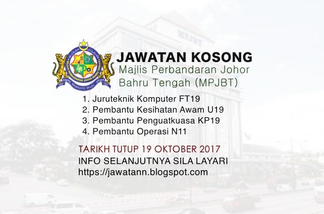 Jawatan Kosong Majlis Perbandaran Johor Bahru Tengah (MPJBT)