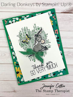 Stampin' Up!'s Darling Donkeys Sale-A-Bration stamp set!  This card also uses: Textured Essentials and Butterfly Gala.  The designer paper is Flower & Field Sale-A-Bration. #StampinUp #StampTherapist #SaleABration