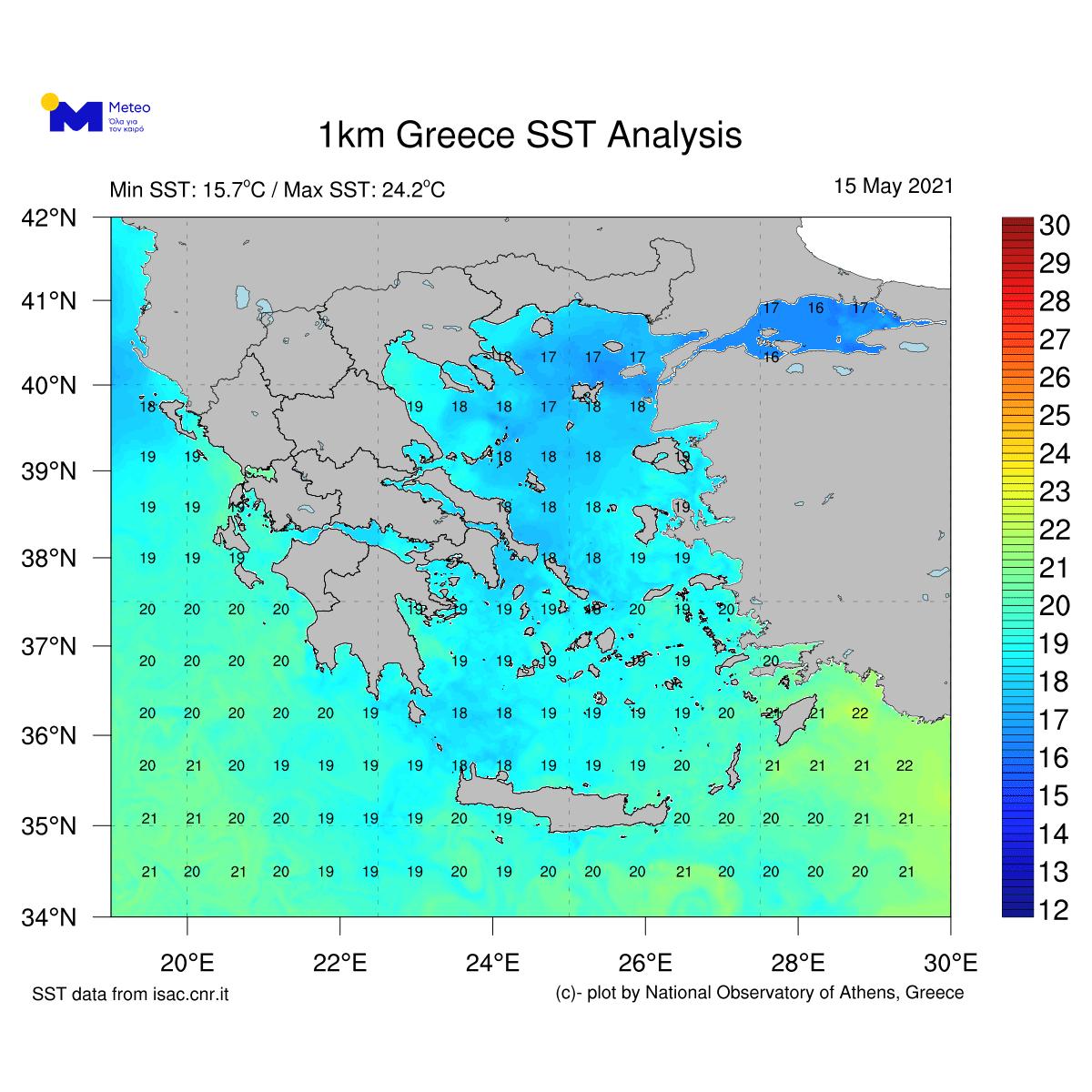 Στα κανονικά για την εποχή επίπεδα η θερμοκρασία της θάλασσας