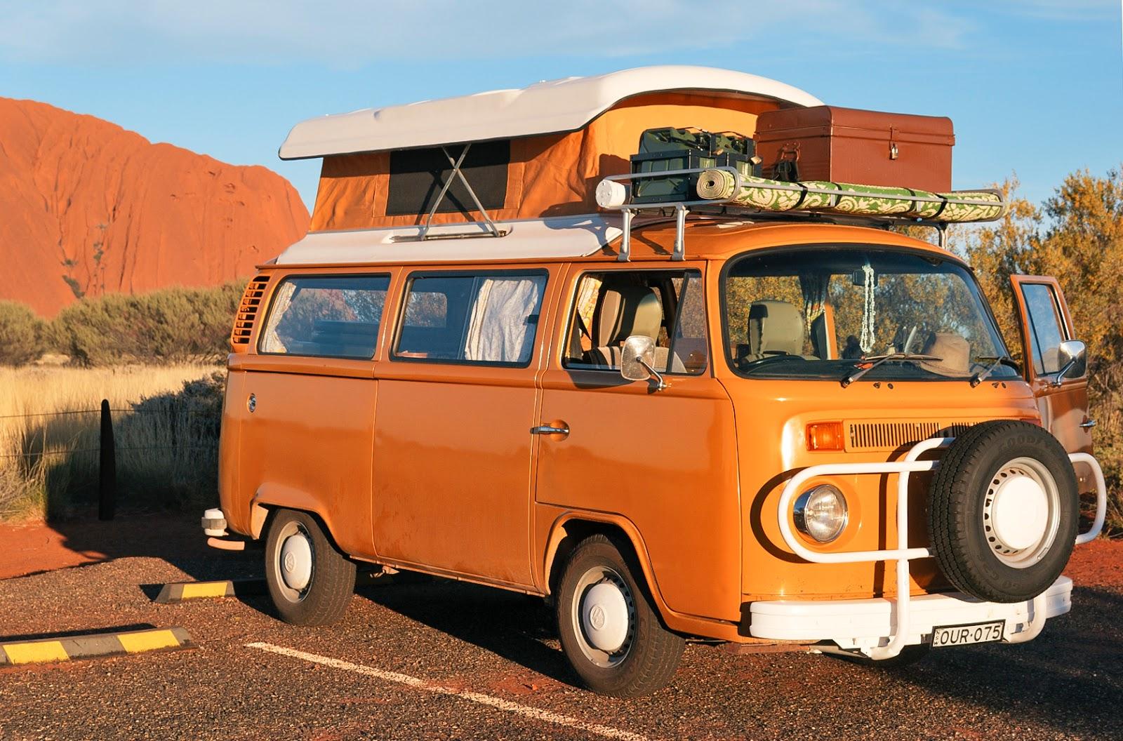 uluru australia sunset vintage van