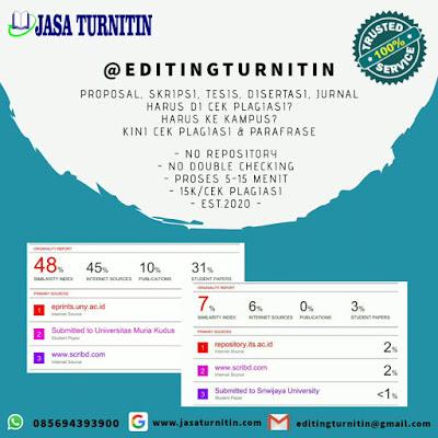 Jasa Cek Turnitin Gratis Parafrase Plagiarisme Jurnal Bahasa Inggris di Indonesia