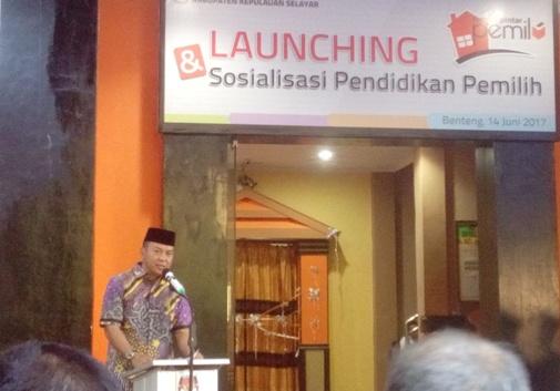 Bupati, Hadiri, Launching ,Rumah Pintar Pemilu, KPU Selayar