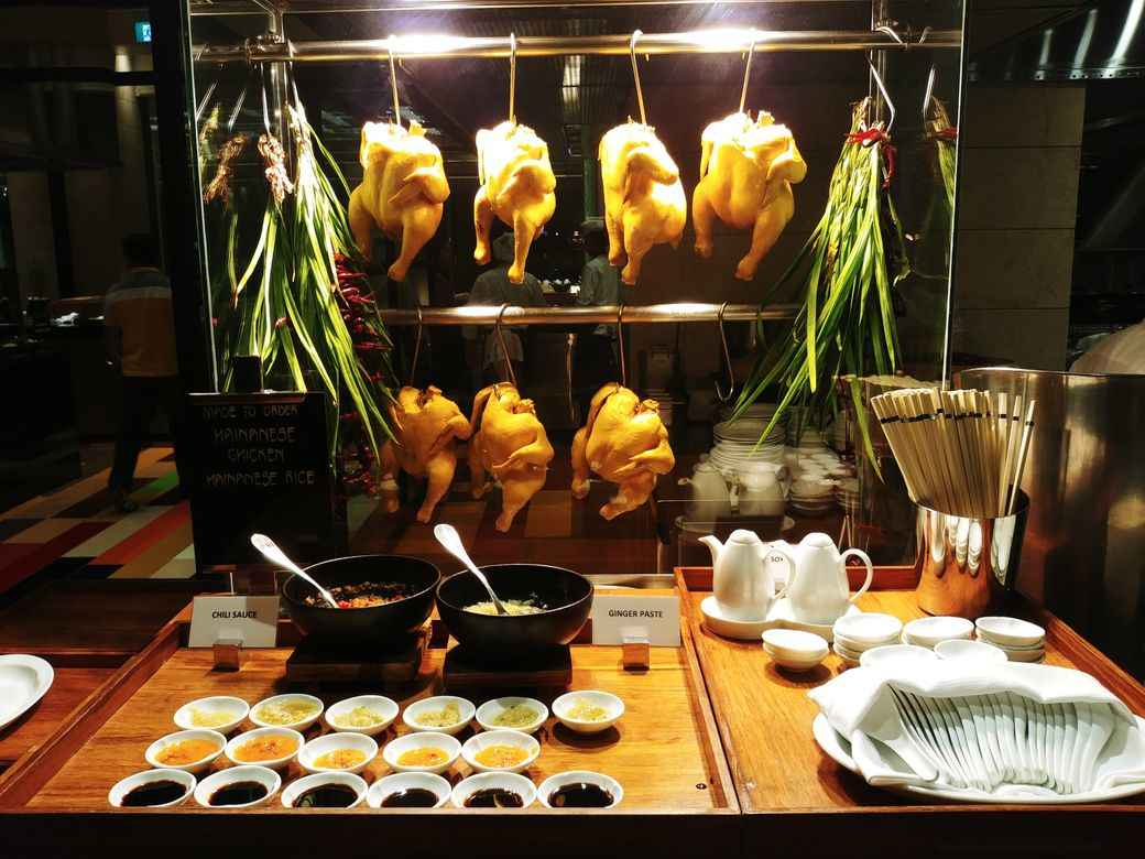 Hainanese chicken on display at The Grand Kitchen