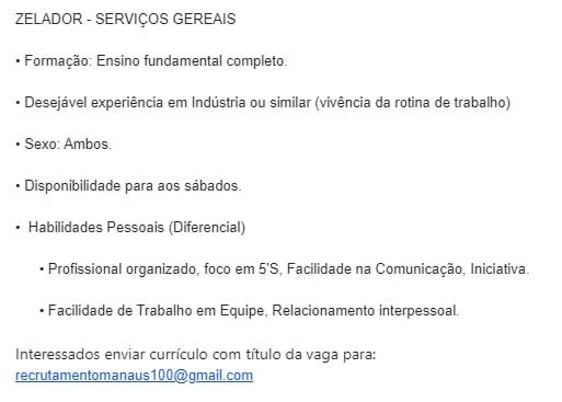 ZELADOR - SERVIÇOS GERAIS