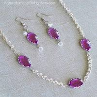 violet necklace and earring set