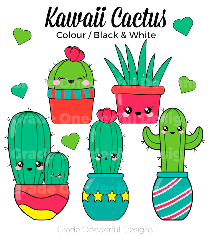 Cute Kawaii Cactus Clipart and Free Cactus Paper