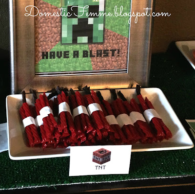 Minecraft Birthday Party: TNT Twizzlers #Parties #Birthdays #DIY #Character #Characters #Supplies #Idea #Ideas #TNT #Twizzlers #Torches #Chocolate #Dipped #Pretzel #Pretzels #Rods #Rods #Dirt #Brownie #Brownies #Coal #Rice #Krispies #Treats #Krispie #Crispie #Crispies #Zombie #Zombies #Boogers #Booger #Popcorn #Corn #Candy #Stickers #Enderman #Steve #Creeper #Printables #Printable #Cake #Instruction #Instructions #Instuctable #Instructables #Tutorials #Ghost