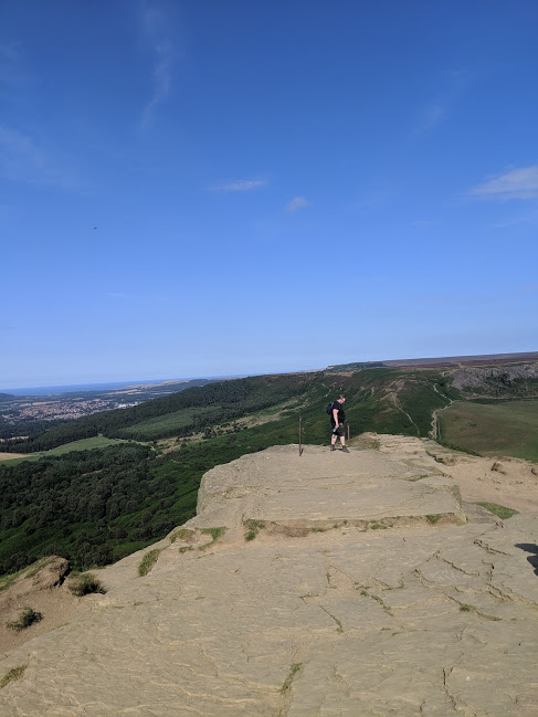 Climbing Roseberry Topping with Kids - walking along the summit