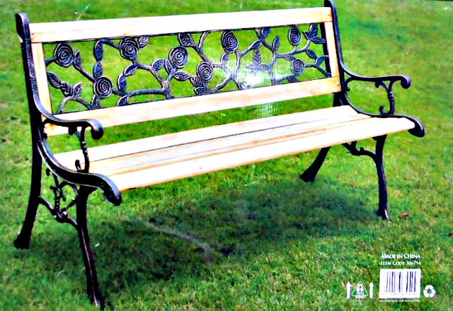 Rose patterned garden bench