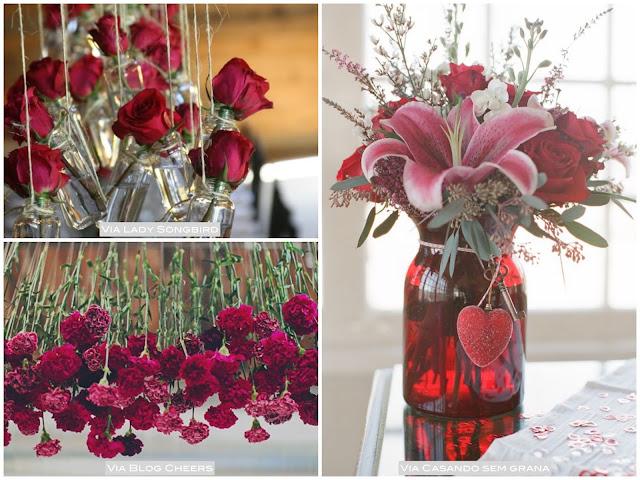 idéias para decorar flores vermelhas