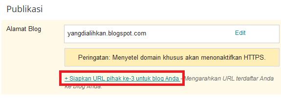 siapkan URL pihak ke-3 untuk blogspot anda