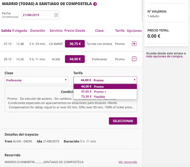 Fare options you can select on Renfe's website