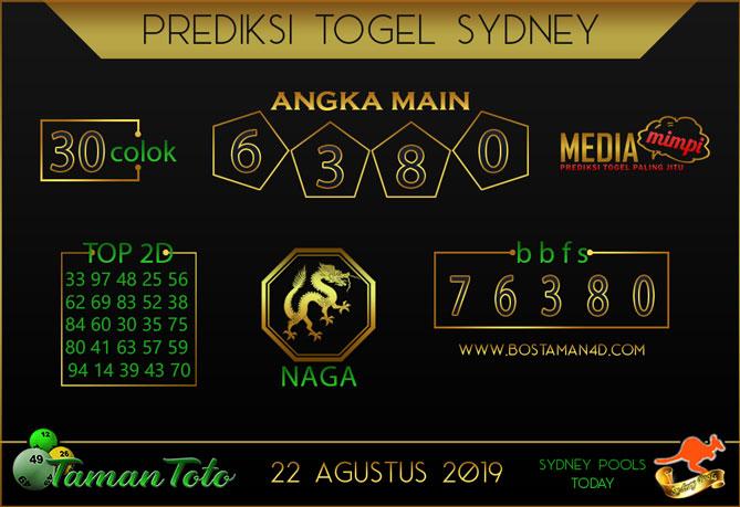 Prediksi Togel SYDNEY TAMAN TOTO 22 AGUSTUS 2019