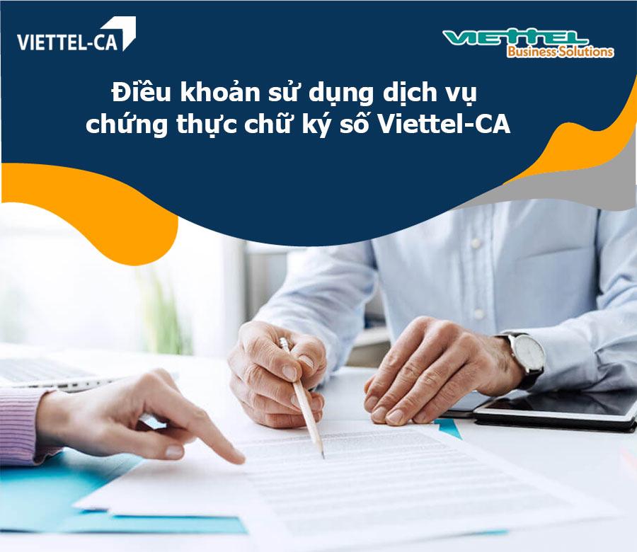 Ảnh minh họa: Điều khoản sử dụng dịch vụ Chững thực chữ ký số Viettel-CA