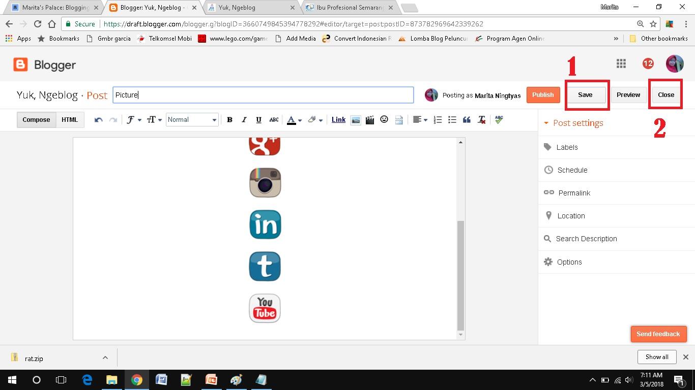 cara mudah menambah social media button di blogspot save only