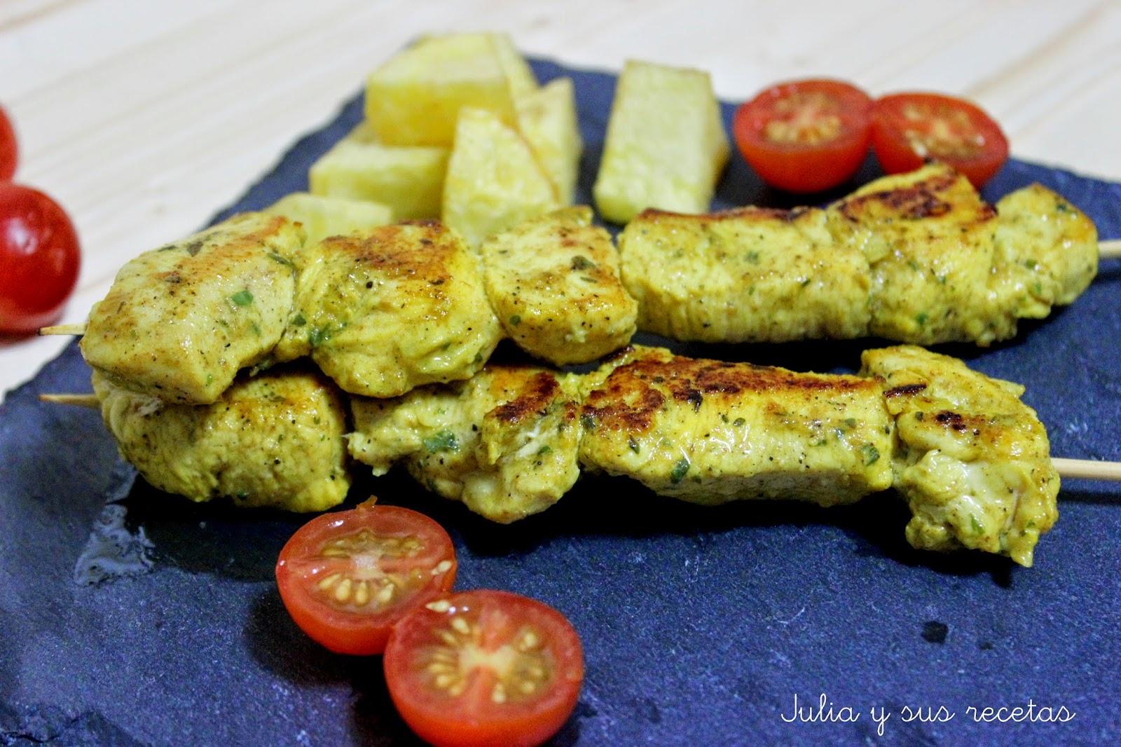 Brochetas de pollo al ras el hanout. Julia y sus recetas
