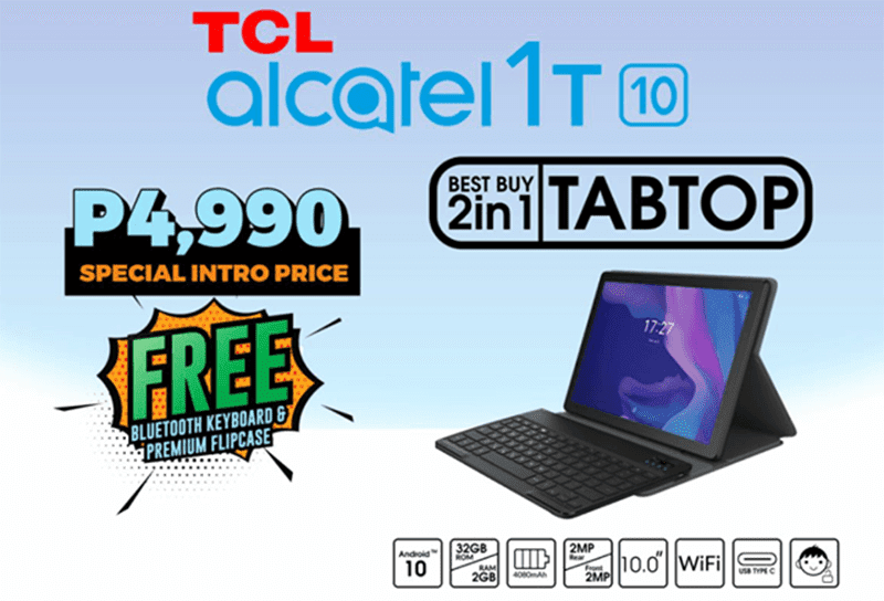 TCL Alcatel 1T10 with FREE Bluetooth Keyboard and Flipcase launched in PH