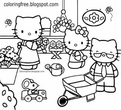 Mum Dad cat family beautiful free coloring pages for girls Hello Kitty flower garden printable sheet