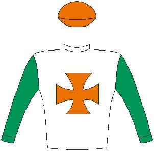 Jockey Silks for Owner: Mr Roy Moodley -  Colours: White, orange maltese cross, emerald green sleeves, orange cap.