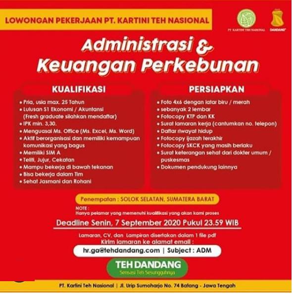 Lowongan Kerja Perkebunan PT Kartini Teh Nasional September 2020