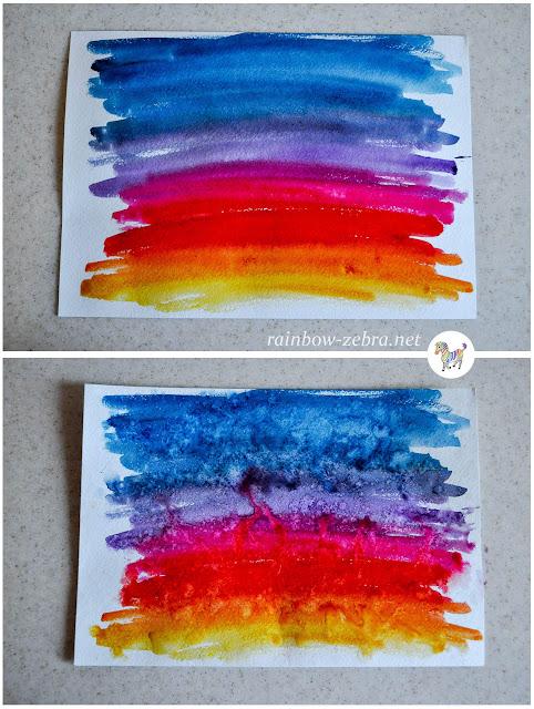 Следы капель на разноцветном фоне