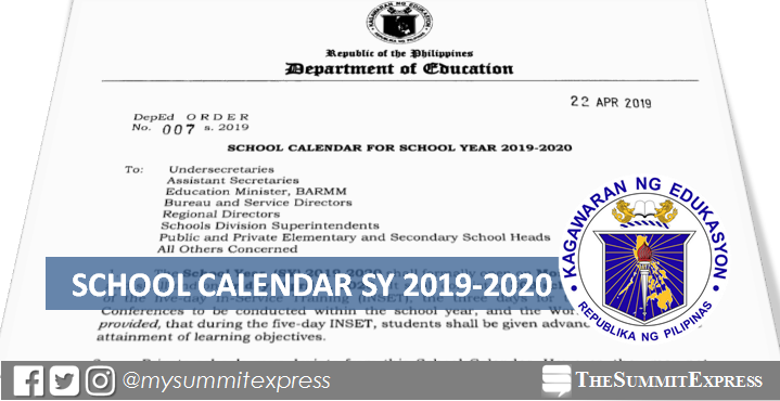 DepEd releases school calendar for SY 2019-2020