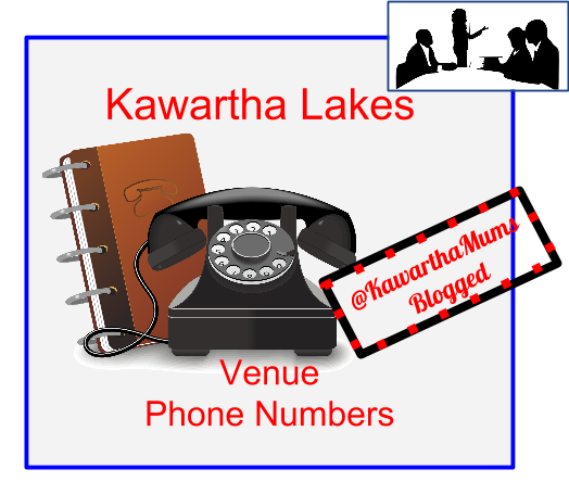 Kawartha Lakes Hall Rentals Phone Numbers shows an old dial phone and phone book and a meeting  image in the corner