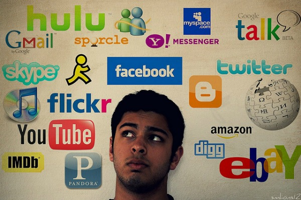 image showing student daydreaming and is surrounded by social media icons