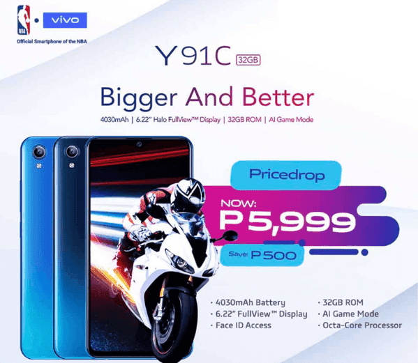 Vivo Y91C gets a price drop to PHP 5,999