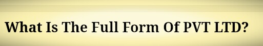 What Is The Full Form Of PVT LTD?