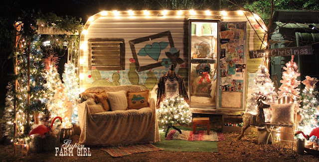 fun glamping Christmas scene