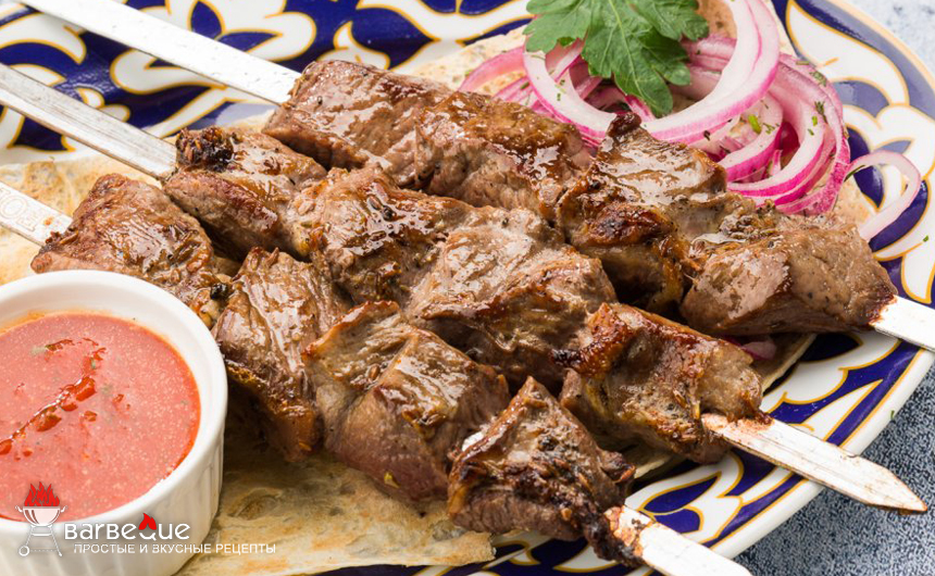Шашлык из рубленой баранины по-узбекски