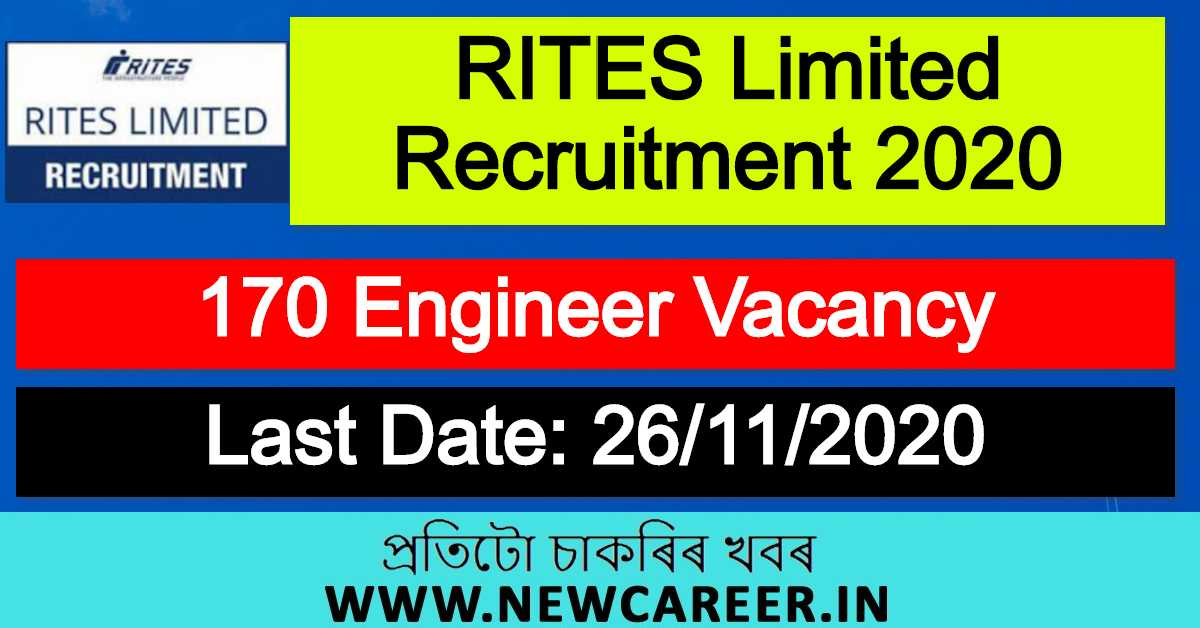 RITES Limited Recruitment 2020 : Apply Online For 170 Engineer Vacancy
