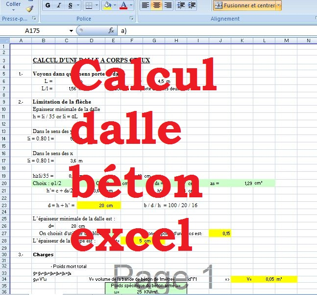 calcul dalle beton excel dalle corps creaux outils. Black Bedroom Furniture Sets. Home Design Ideas