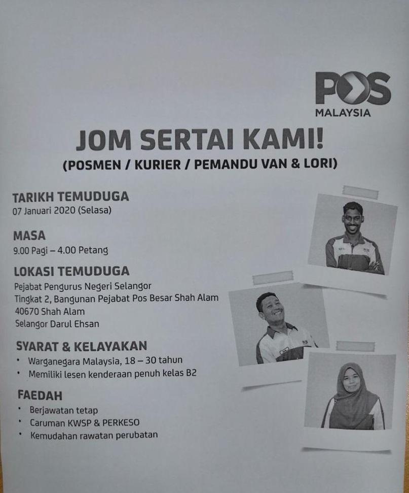 Temuduga Terbuka Di Pos Malaysia Berhad Appjawatan Malaysia