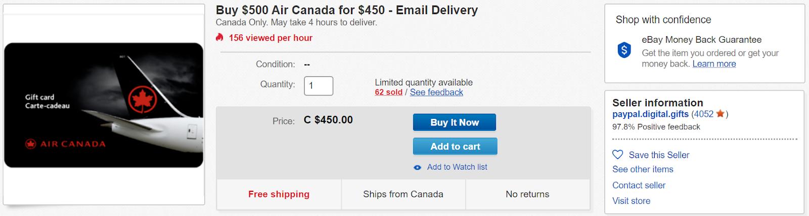 Canadian Rewards Ebay Buy 500 Air Canada Egift Card For 450 Expired